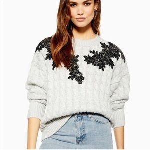NWT TopShop Cable Knit Bead & Appliqué Sweater